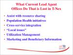 what current lead agent offices do that is lost in t nex