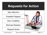requests for action