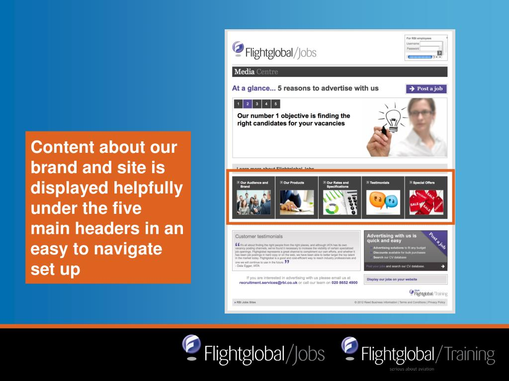 Content about our brand and site is displayed helpfully under the five main headers in an easy to navigate set up