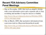 recent fda advisory committee panel meetings