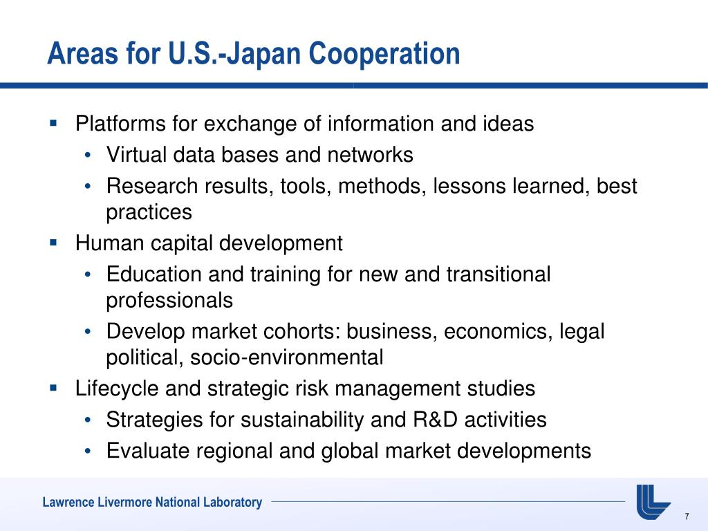 Areas for U.S.-Japan Cooperation