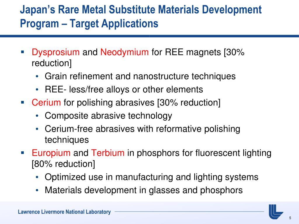 Japan's Rare Metal Substitute Materials Development Program – Target Applications