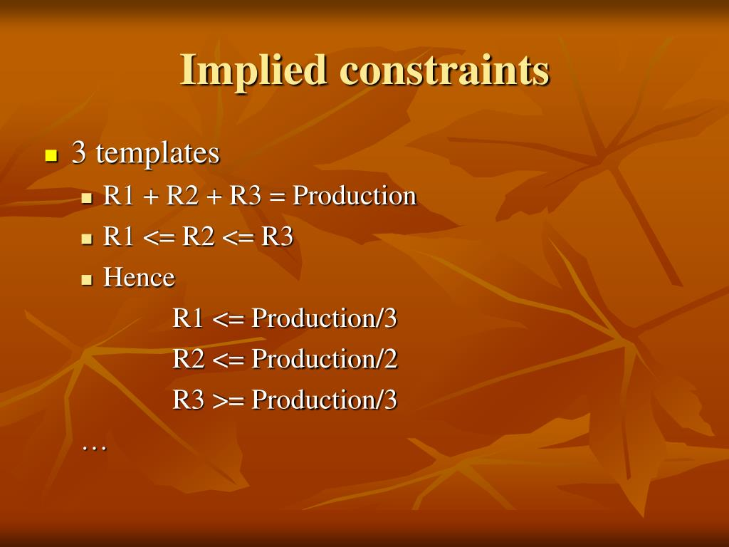 Implied constraints