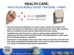 health care high value mobile asset tracking hvmat