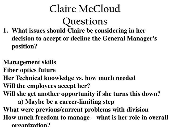 Claire mccloud questions3