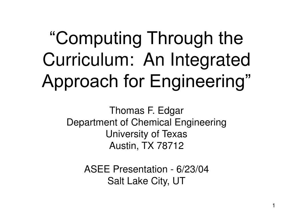 computing through the curriculum an integrated approach for engineering l.