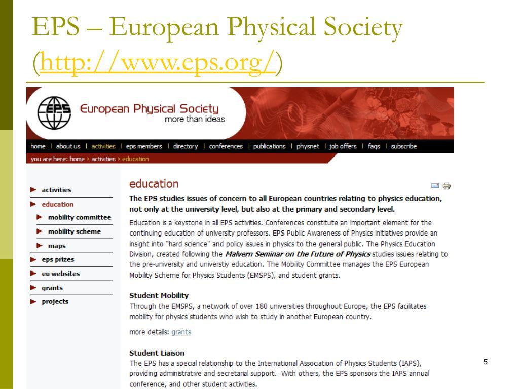 EPS – European Physical Society