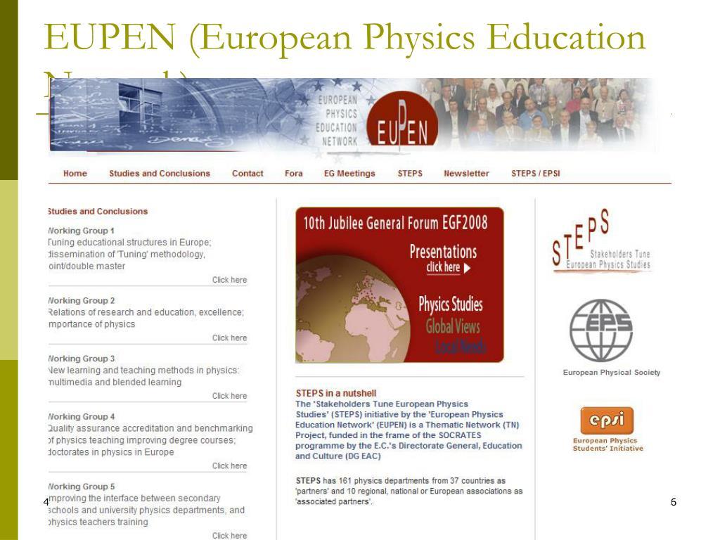 EUPEN (European Physics Education Network)-