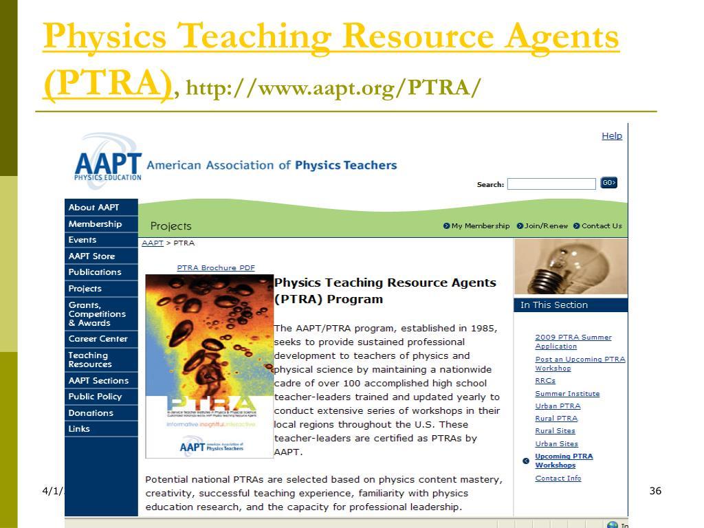 Physics Teaching Resource Agents (PTRA)