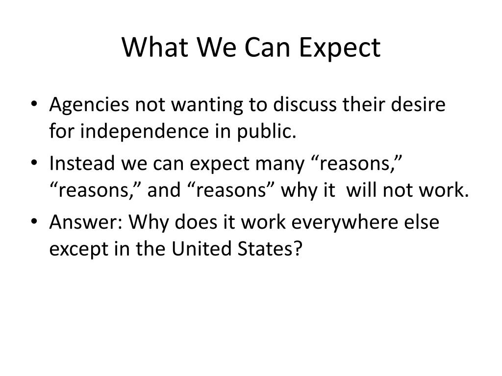 What We Can Expect