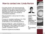 how to contact me linda horton