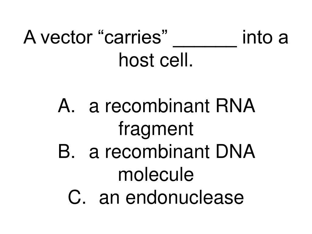 """A vector """"carries"""" ______ into a host cell."""