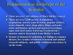 frankenstein as archetype of the scientist