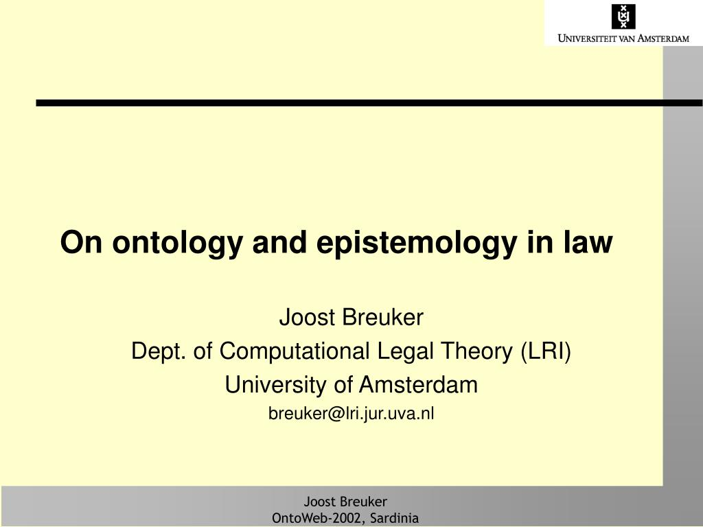 on ontology and epistemology in law l.