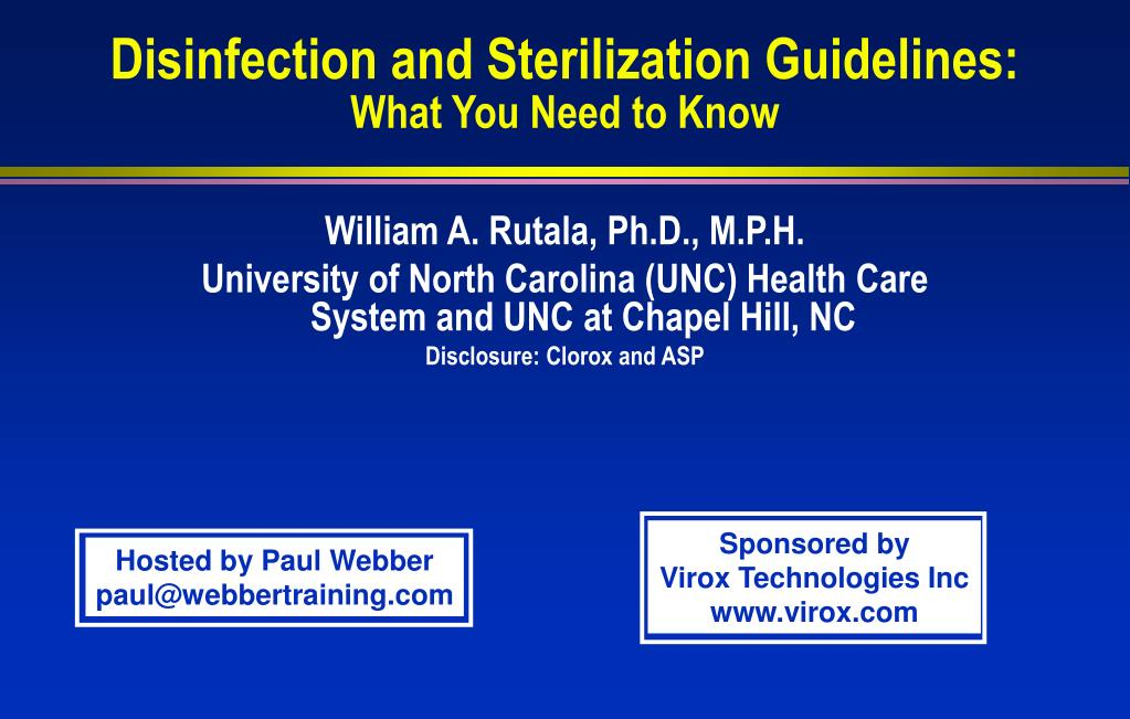 disinfection and sterilization guidelines what you need to know l.