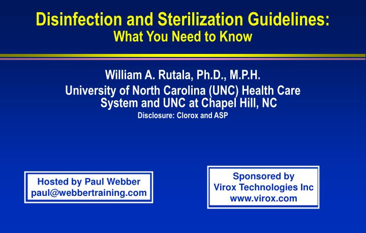disinfection and sterilization guidelines what you need to know n.