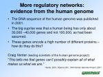 more regulatory networks evidence from the human genome