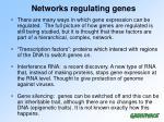 networks regulating genes