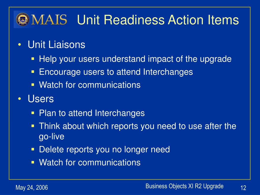 Unit Readiness Action Items