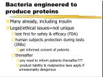 bacteria engineered to produce proteins