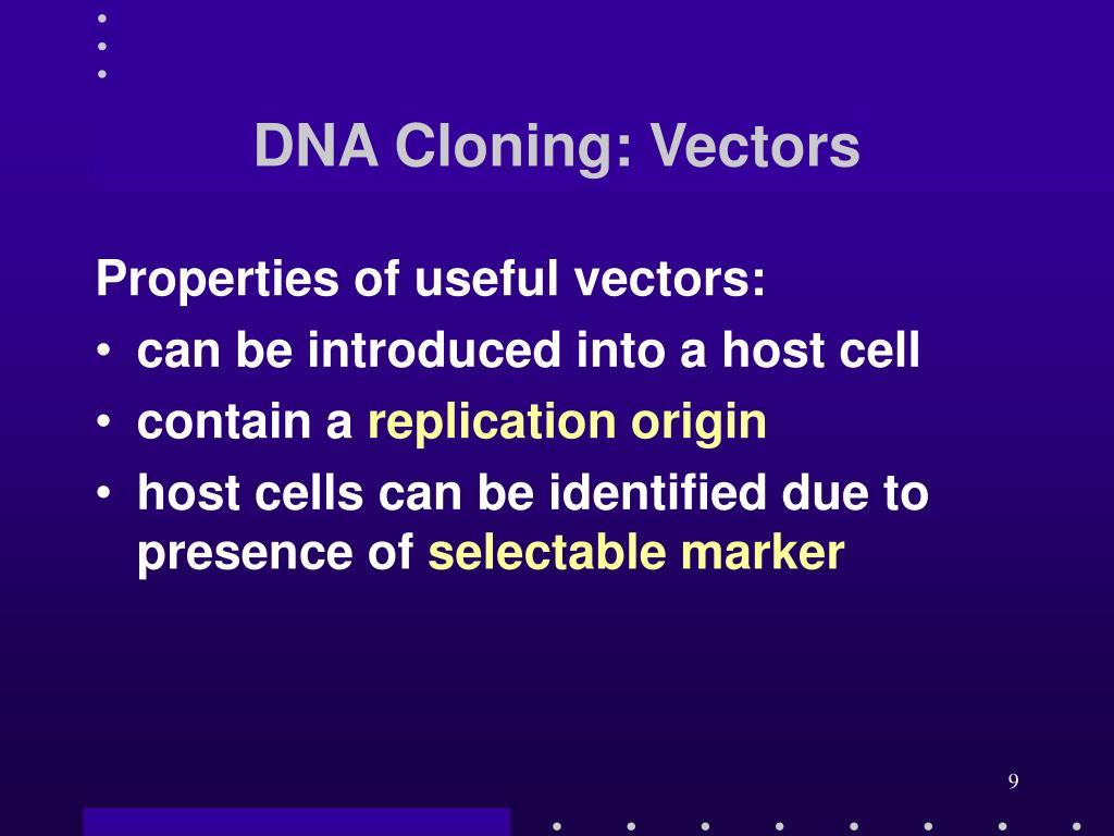 DNA Cloning: Vectors