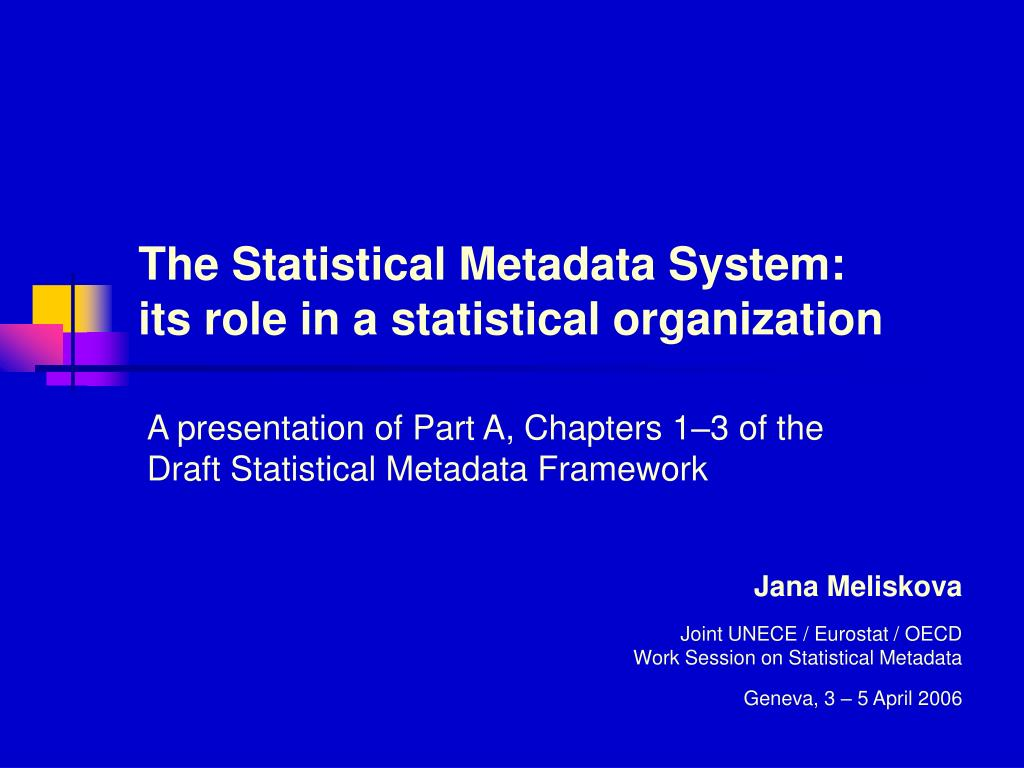 the statistical metadata system its role in a statistical organization l.