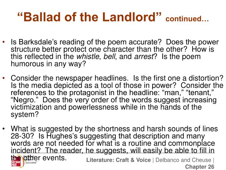 ballad of the landlord The ballad is an imaginary conversation between a black tenant and his white landlord the white landlord has been exploiting his black tenant for a.