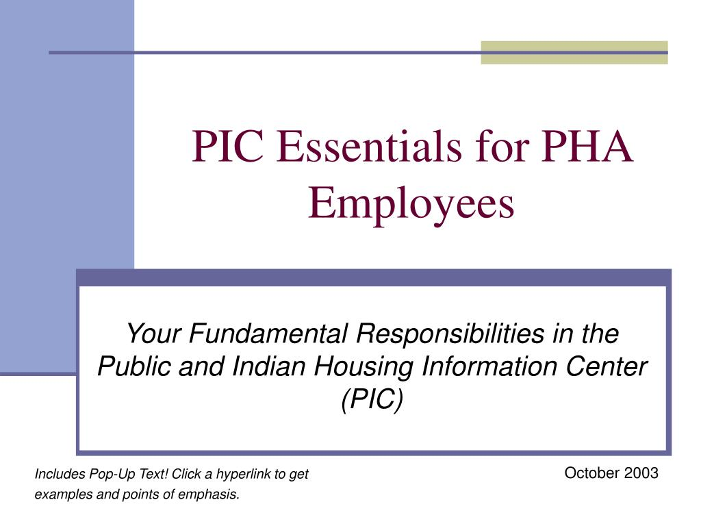 pic essentials for pha employees l.