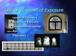 critical windows of exposure