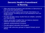 genomic health s commitment to nursing