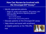 how can nurses be involved with the onco type dx assay