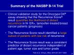 summary of the nasbp b 14 trial