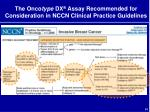 the onco type dx assay recommended for consideration in nccn clinical practice guidelines