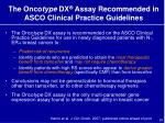 the onco type dx assay recommended in asco clinical practice guidelines