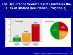 the recurrence score result quantifies the risk of distant recurrence prognosis