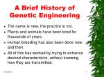 a brief history of genetic engineering