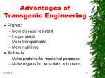 advantages of transgenic engineering