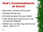 god s commandments at ararat