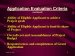application evaluation criteria continued