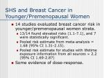 shs and breast cancer in younger premenopausal women