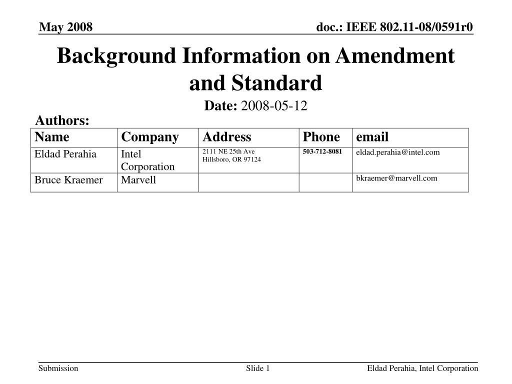 background information on amendment and standard l.