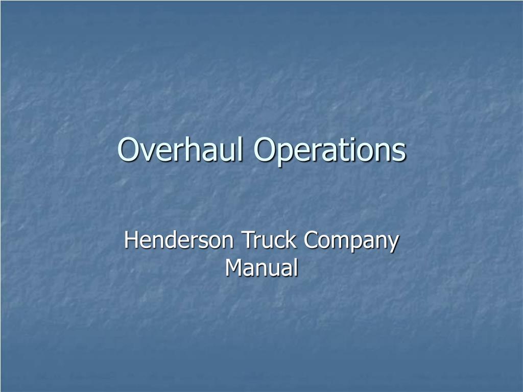 overhaul operations l.