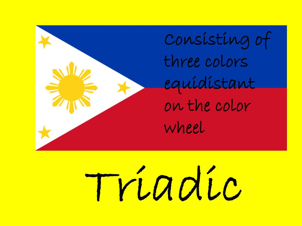 Consisting of three colors equidistant on the color wheel