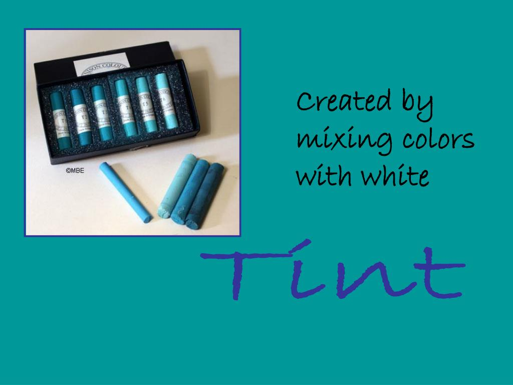 Created by mixing colors with white