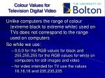 colour values for television digital video