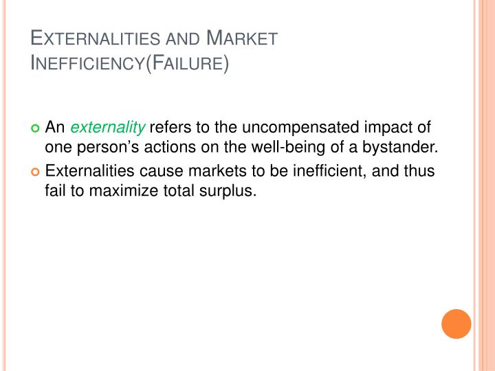 Externalities and market inefficiency failure