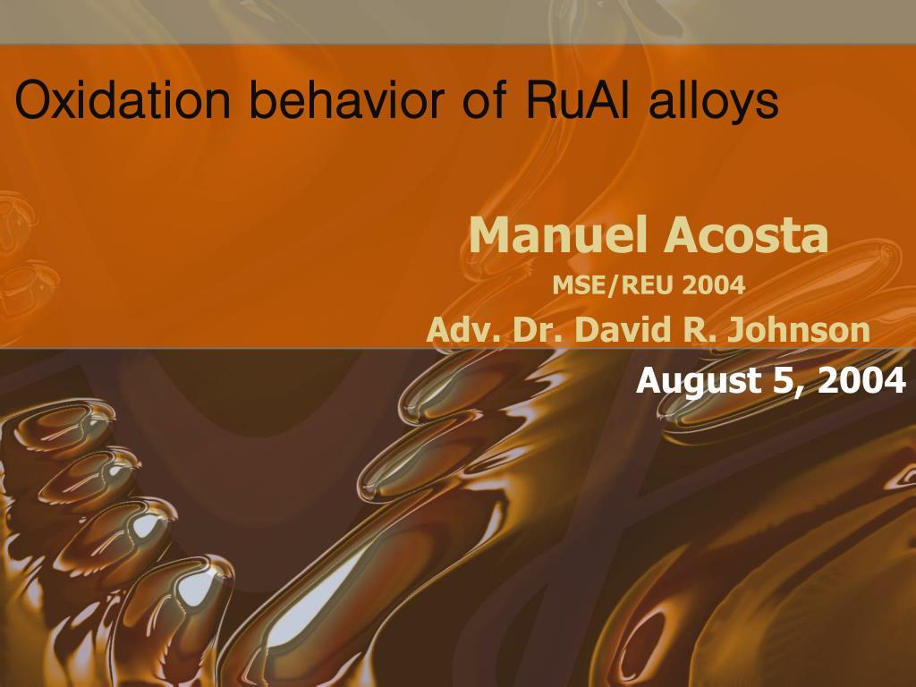oxidation behavior of rual alloys l.