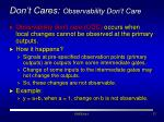 don t cares observability don t care