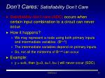 don t cares satisfiability don t care