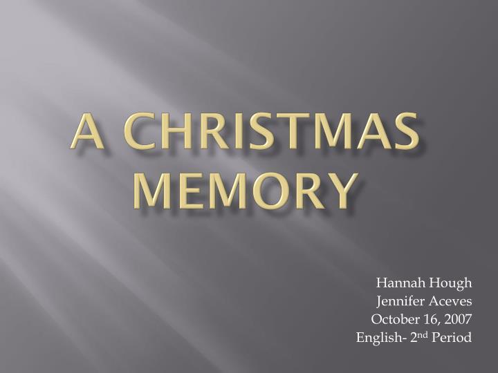 a christmas memory n.